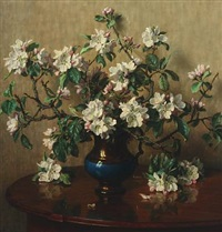 still life with flowering branches in a vase by wilhelm andersen