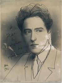 autoportrait dessin à l'encre noire sur photographie du studio g.l by jean cocteau
