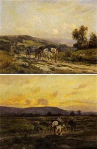 attelage dans un paysage by charles henri quinton