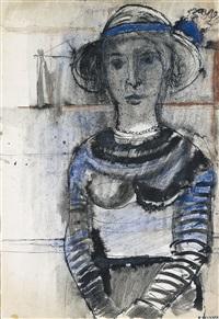 femme au chapeau by paul delvaux