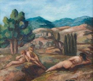 nus dans un paysage by pierre paul girieud