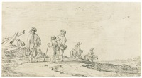 figures and riders on a road in the dunes by jan josefsz van goyen