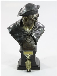 a large patinated bronze bust of a young man efcholier by emile louis picault