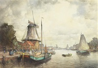 dutch harbour scene by john ernest aitken