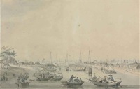 barges preparing to enter the hwang-ho by william alexander