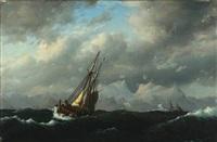 sejlskibe under snefjælde by carl emil baagöe