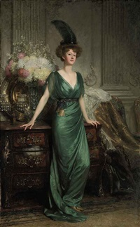 portrait of the hon. mrs ernest guinness, standing wearing an emerald dress and feather by frank dicksee
