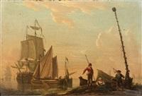 navires de pêche sur un littoral animé de personnages (pair) by frans swagers