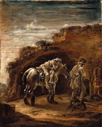 the good samaritan, or a traveller resting on his horse in a landscape, en grisaille by pieter cornelius verbeeck