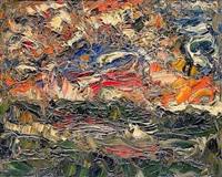 ciel nuageux sur la seine et été (+ les coquelicots, lrgr; 2 works) by michel aubert