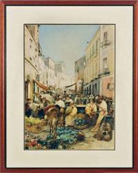 busy market scene in resina, italy by gustavo simoni