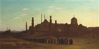 a procession outside a town in egypt by abraham archibald anderson