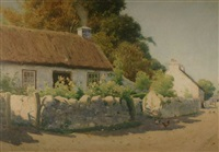 thatched cottage with poultry on a lane by john mcdougal
