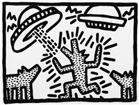 spaceships & dog by keith haring