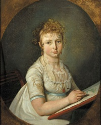 portrait of a woman seated, wearing a white dress with lace chemise, a blue ribbon around her waist by cornelis van cuylenburg