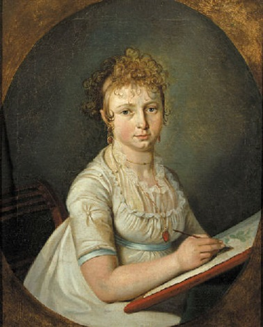 portrait of a woman seated wearing a white dress with lace chemise a blue ribbon around her waist by cornelis van cuylenburg