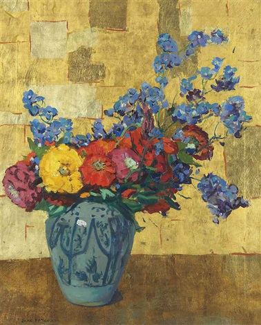 summer flowers gold blue by jane peterson