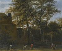 four men playing skittles in a garden, with onlookers by adriaen hendricksz. verboom