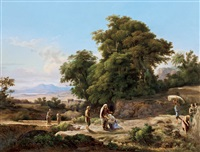 romantic landscape (meeting ruth and boaz) by karoly marko the elder