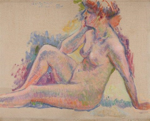 baigneuse assise vers la gauche by théo van rysselberghe
