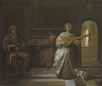 an elegant company making music in an interior by pieter de hooch