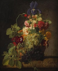 le panier de fleurs et de fruits by moise jacobber