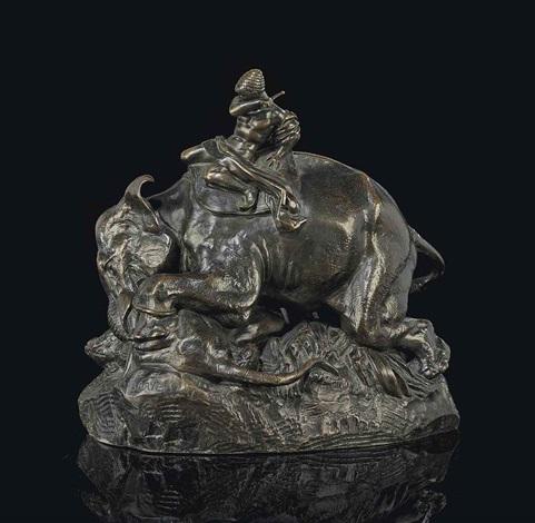 indien monte sur un elephant ecrasant un tigre by antoine louis barye