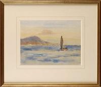 a sailing boat at sea by joseph richard bagshaw
