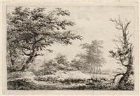 landschaft mit einem boot auf dem fluß - bachlandschaft mit einem mann auf einem steg bei einem haus (2 works from verscheidene landschappen...) by hermanus van brussel