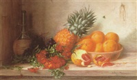 stilleben mit goldlack, ananas, orangen und chiantiflasche by alfrida baadsgaard