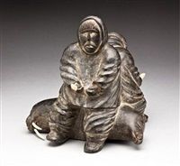 two hunters seated on a walrus and bear by george kayakok kadyulik