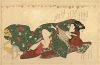 oban yoko-e, doublé, amants dans le kotatsu by katsukawa shunsho