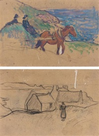 l'attelage (+ chaumières; 2 studies on 1 mount) by henry moret