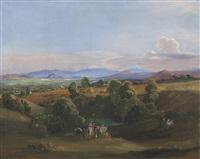 vista del valle de méxico con el popocatépetl y el iztaccihuatl al fondo by johann moritz rugendas
