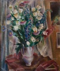 vase blanc au bouquet de fleurs by maurice jean micha