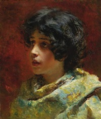 portrait of a young girl by konstantin egorovich makovsky