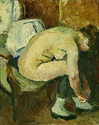femme accroupie (nackte frau auf sessel beim anziehen der schuhe) by charles felix appenzeller