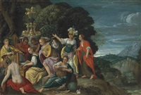 minerva visiting the muses on mount helicon by johann (hans) konig