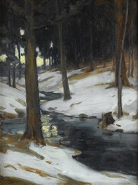 winter woods at dusk by charles morris young