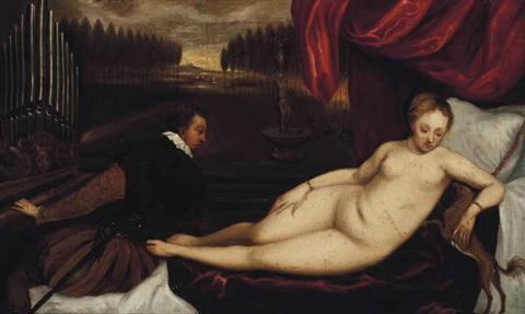 reclining venus with an organ player by titian (tiziano vecelli)