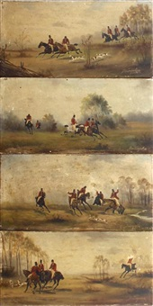 hunting scenes (set of 4) by baumgartner