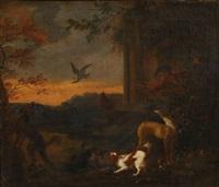 chasseurs dans un paysage (2 works) by adriaen greyff