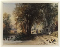 a woodland landscape with figures, birds and animals on a track beside a river by newton (smith limbird) fielding