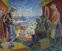 fiskare och fiskargummor vid fiskeläge, skåne by gunnar torhamn