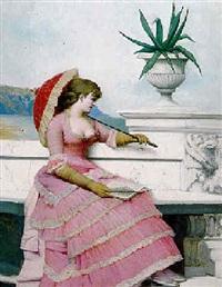 elégante jeune femme à la robe rose by adolphe frédéric lejeune