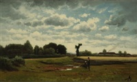 paysage de campagne by horace-antoine fonville