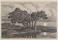 pond at moonrise by birger sandzen
