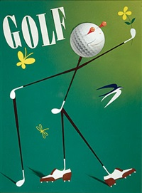 caricature of fred astaire (magazine cover illus. for april 1940 issue of golf) by bobri