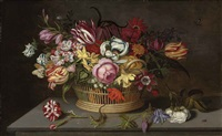 roses, tulips, carnations, marigolds and other flowers in a woven basket, with caterpillars, a lizard, a ladybird, and other insects, on a stone ledge by ambrosius bosschaert the younger