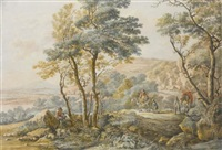 italianate landscape with travellers, after jan both by vincent jans van der vinne
